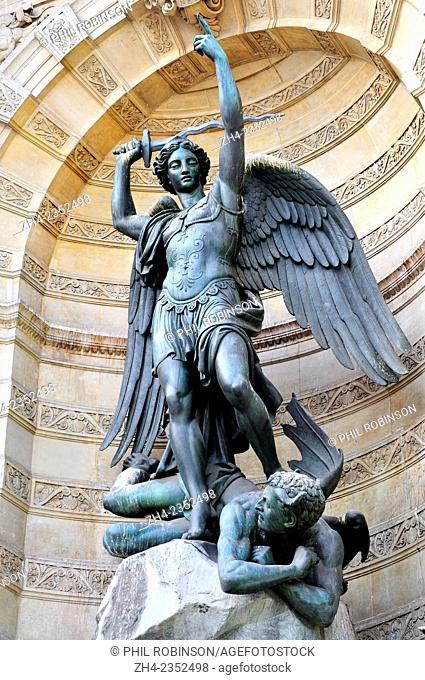 Paris, France. Place Saint-Michel. Fontaine Saint-Michel (1860) Saint Michael slaying the Devil