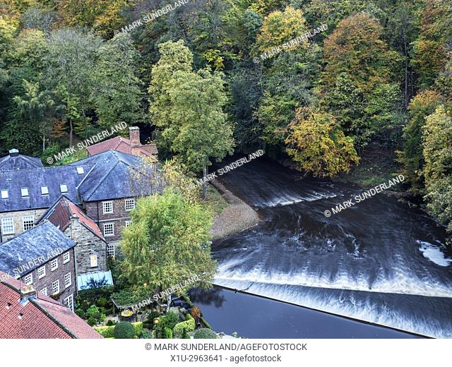 Castle Mills by the River Nidd in Autumn Knaresborough North Yorkshire England