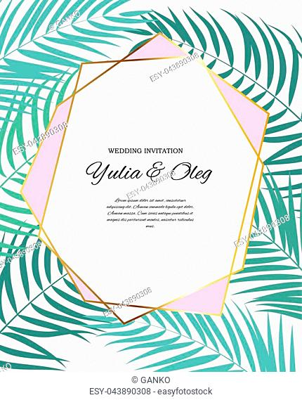 Beautifil Wedding Invitation with Palm Tree Leaf Silhouette Vector Illustration EPS10