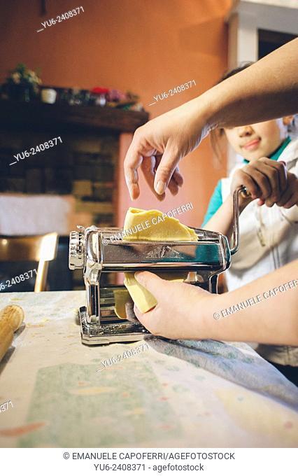 Preparation of homemade pasta, Italian traditional home maker
