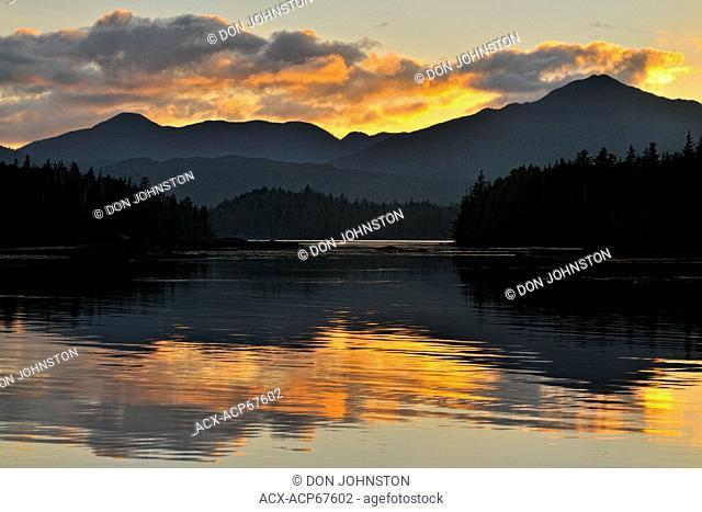 Sunset reflections at Rose Harbour, Haida Gwaii (Queen Charlotte Islands) Gwaii Haanas NP, British Columbia, Canada