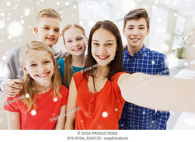 group of students taking selfie