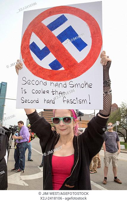 Toledo, Ohio - Several hundred people turned out to protest as the neo-Nazi National Socialist Movement held a rally on the steps of the government office...