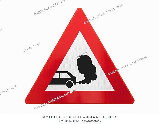 Traffic sign isolated - Exhaust fumes - On white
