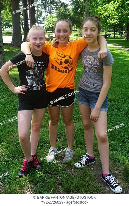 Preteen Girlfriends Hanging Out, Wellsville, New York, USA