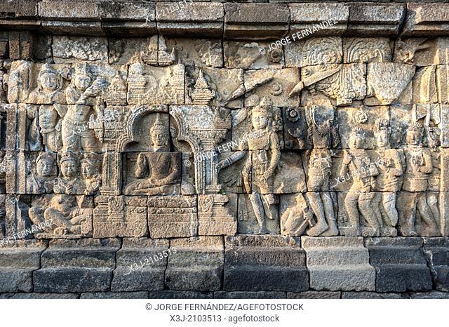 Details of the Buddhist temple of Borobudur, Java, Indonesia