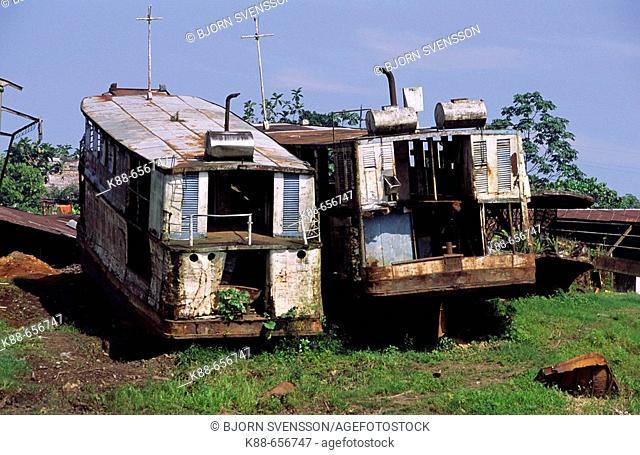 Ship grave yard along the Amazon river. Iquitos, Loreto, Peru