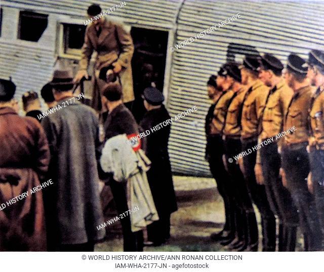 Adolf Hitler German Chancellor arrives by plane at an airfield. Circa 1933-37