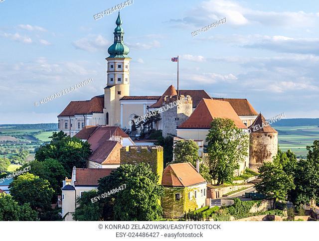 Castle on hill in Mikulov town in Czech Republic