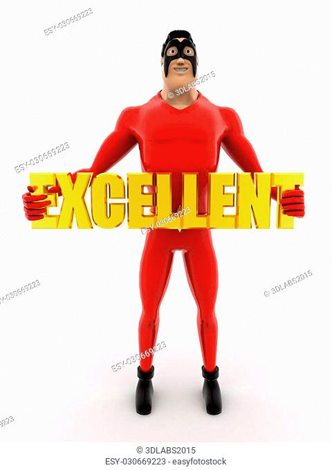 3d superhero holding excellent colourful text concept on white background, front angle view