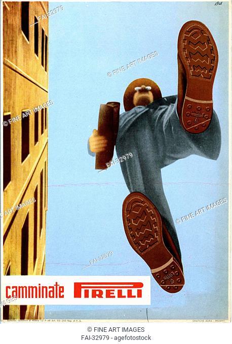 Advertisement for Pirelli soles by Scopinich, Ermanno Federico /Colour lithograph/Communication design/1948/Italy/Fondazione Pirelli/Poster and Graphic...