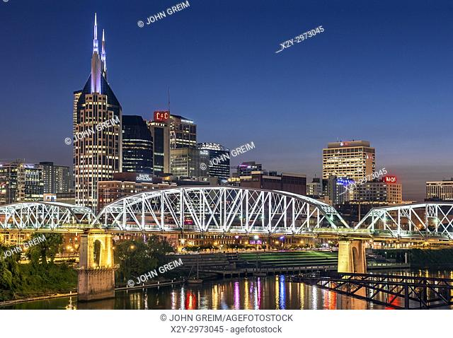 Nashville city skyline at dusk, Tennessee, USA