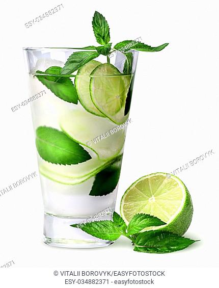 Lemonade with lime and mint isolated on white background