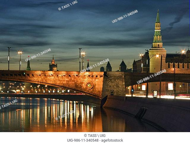 The Moskvoretsky Bridge, The Kremlin Embankment And The Kremlin In Moscow At Night