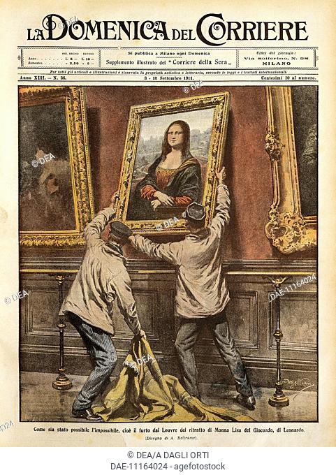 Theft of the Mona Lisa. Illustrator Achille Beltrame (1871-1945), from La Domenica del Corriere, 3rd-10th September 1911
