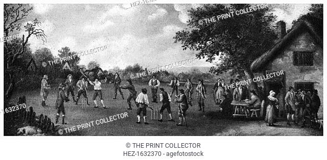 A country cricket match, 19th century (1912). From Imperial Cricket, edited by P F Warner and published by The London and Counties Press Association Ltd (London