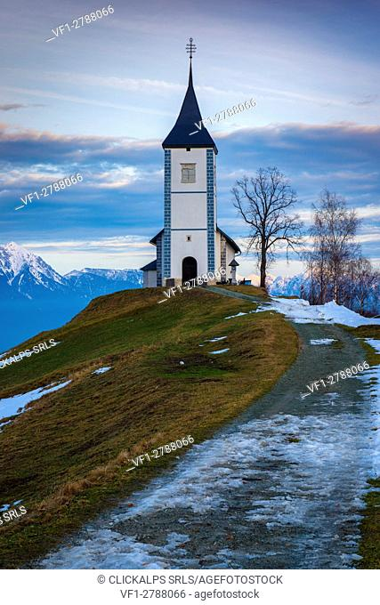 Jamnik, Slovenia, Europe. St. Primus and Felician church near Lake Bled