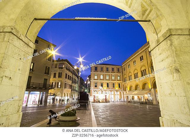 Treviso Italy : Cityscape at twilight. Building called Palazzo del Trecento on Square Piazza dei Signori