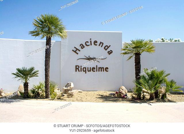 Entrance sign outside of Hacienda Riquelme golf resort in Murcia Spain