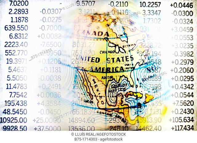 mapa de estados unidos con hoja de mercado de valores, composicion digital, U S  map with stock market information, digital composition
