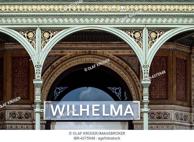 Wilhelma sign at the entrance, Wilhelma Zoo, Stuttgart, Baden-Württemberg, Germany, Europe