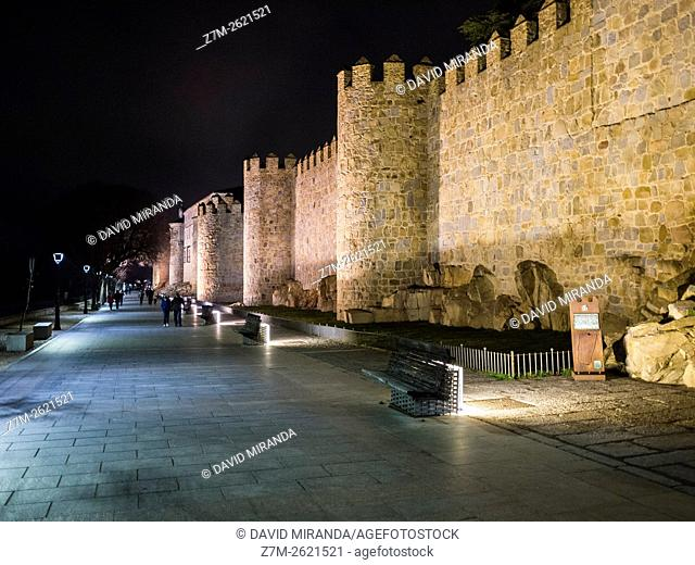 Night view of Paseo del Rastro promenade, Medieval City Walls, Avila, Castile and Leon, Spain. UNESCO World Heritage Site