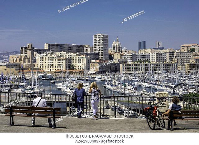 France,Marseille City, skyline, La Major Cathedral, Old port