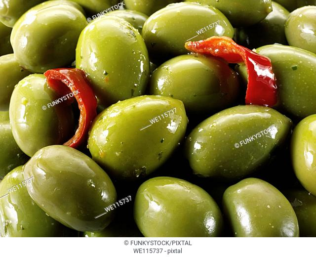 Fresh green queen olives