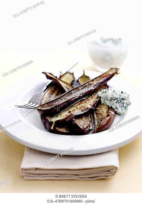 Bowl of roasted eggplant