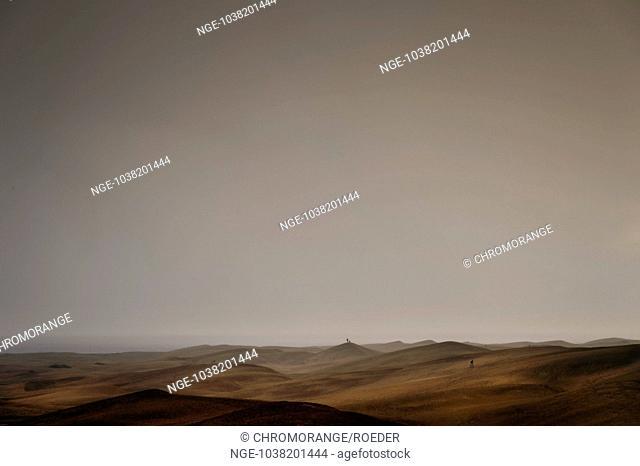The dunes of Playa del Ingles in a sandstorm