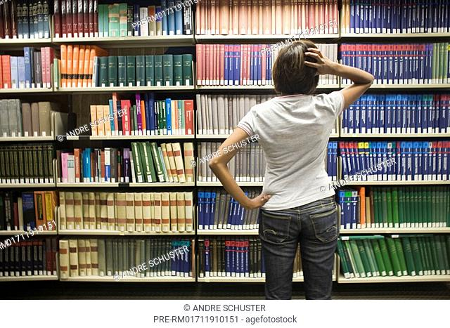 Femal student in a library