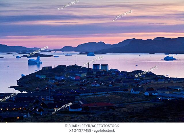 Overview of Narsaq, South Greenland