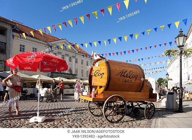 Beer Barrel on Old Cart, Tartu Hanseatic Days, Estonia