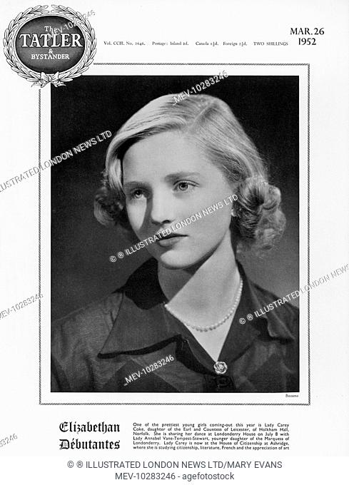 Lady Carey Coke, the daughter of the Earl and Countess of Leicester, of Holkham Hall, Norfolk. Lady Carey was at this time at the House of Citizenship at...
