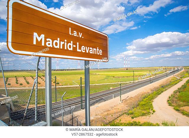 Madrid-Levante High speed line and AVE high-speed train traveling along La Mancha. Ocaña, Toledo province, Castilla La Mancha, Spain