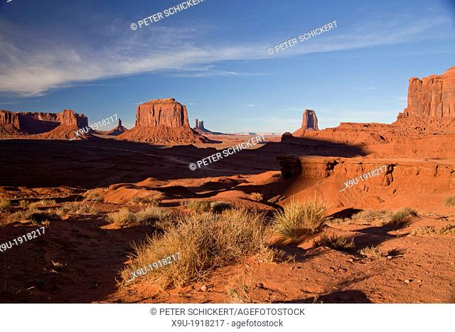 sandstone buttes John Ford's Point at Monument Valley Navajo Tribal Park, United States of America, USA