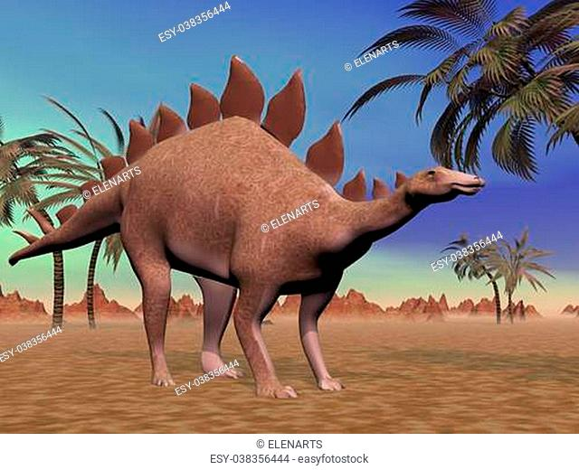 Big stegosaurus dinosaur standing in the desert next to palm trees