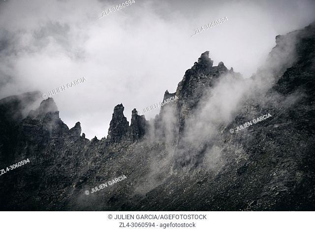 Norway, More og Romsdal, Rauma, Reinheimen National Park, the Troll Wall (Trollveggen), the tallest vertical rock face in Europe, about 1100m
