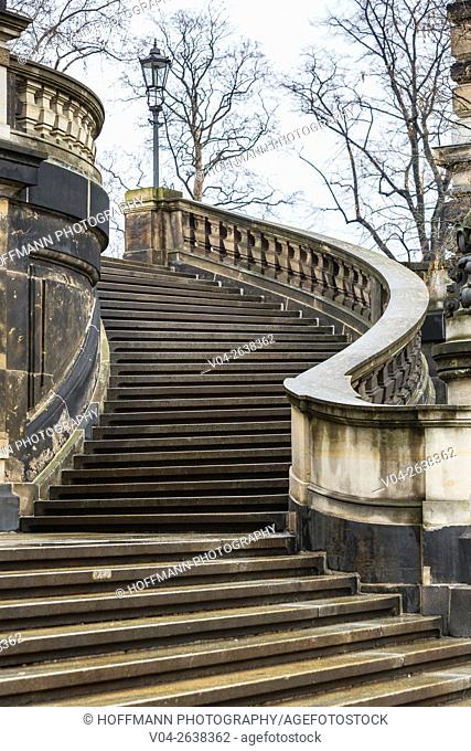Winding stairway in Dresden, Saxony, Germany, Europe