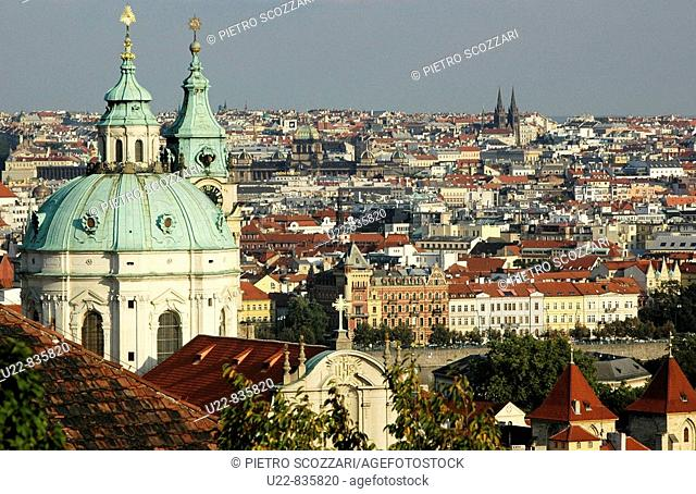 Prague Czech Republic, view on the Svateho Mikulas Mala Strana and the city