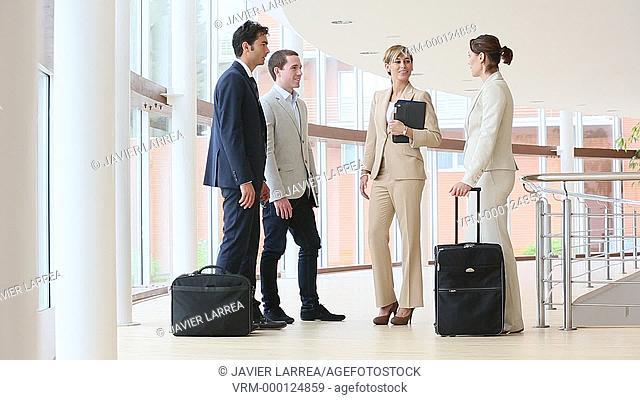 Executives greeting, Congress building, Business, San Sebastian Technology Park, Donostia, San Sebastian, Gipuzkoa, Basque Country, Spain