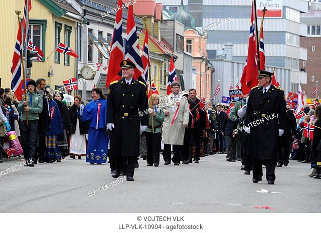 The parade in the street of Tromso in Norge