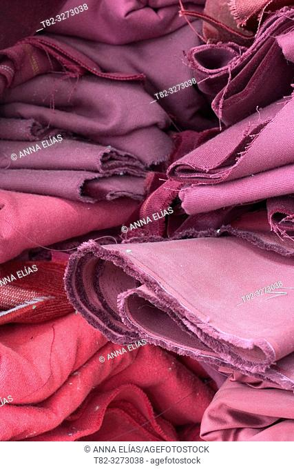 Purple velvet fabrics, cofrade handicrafts, Holy Week, Andalusia, Spain