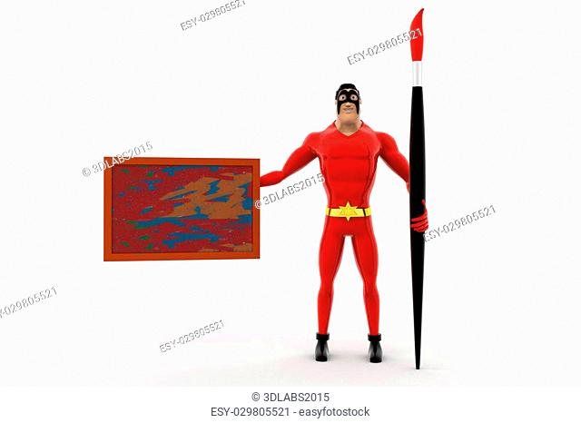 3d superhero with paint brush and borad concept on white background, front angle view