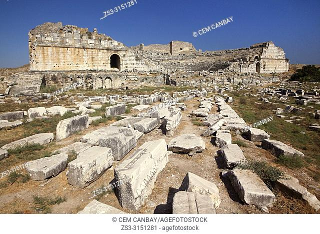 View to the ancient ruins in Miletus, Milet, Aydin Province, Turkey, Europe