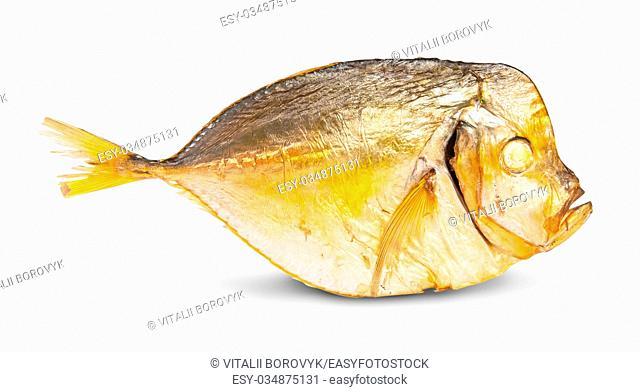 Single Smoked Moonfish Isolated On White Background