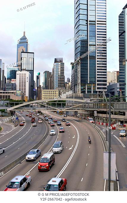 traffic on freeway in the Admiralty district, Hong Kong