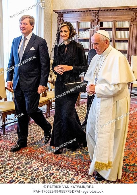 King Willem-Alexander and Queen Maxima of The Netherlands visit His Holiness Pope Francis at the Apostolic palace in Vatican City, Italy, 22 June 2017