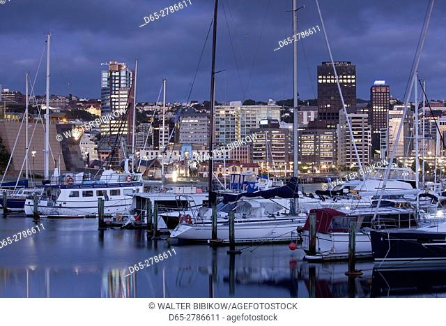 New Zealand, North Island, Wellington, skyline from the harbor, dawn