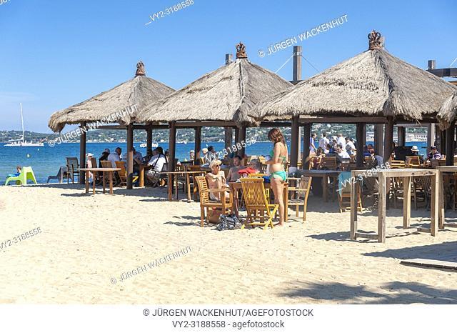 Restaurant on the beach, Port Grimaud, Var, Provence-Alpes-Cote d`Azur, France, Europe